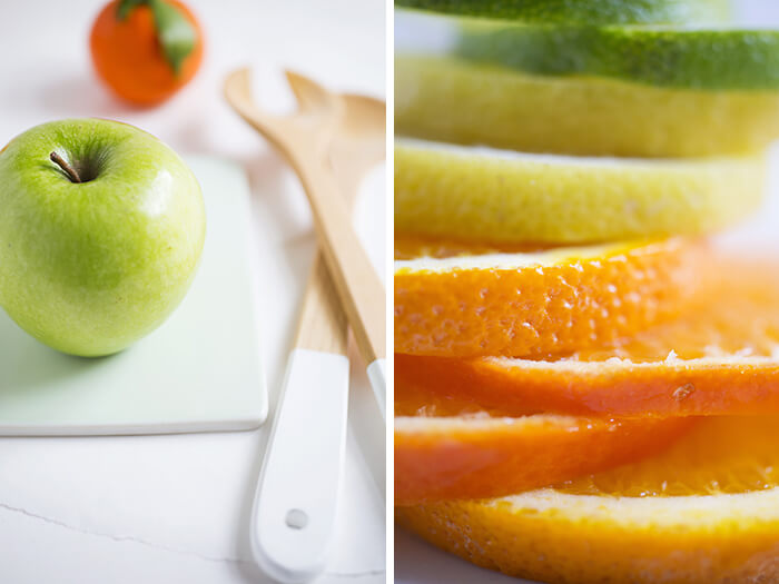 citrus fruits and apple