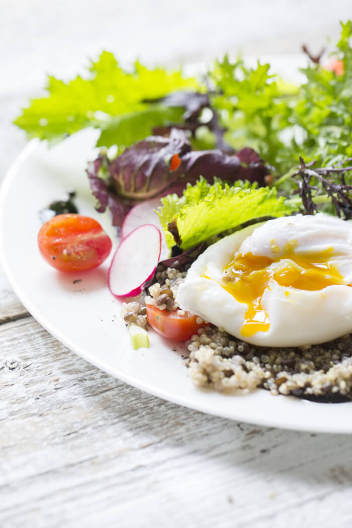 quinoa with poached egg