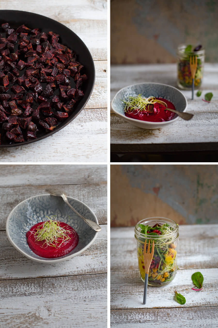 Beetroot soup with salad