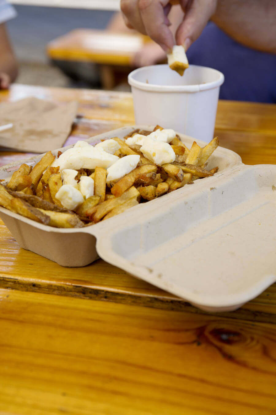Fries with halloumi and saté-sauce