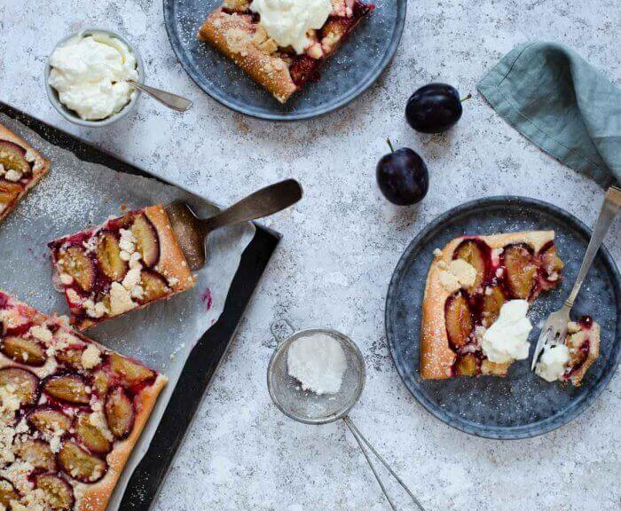 Plum cake on a tray