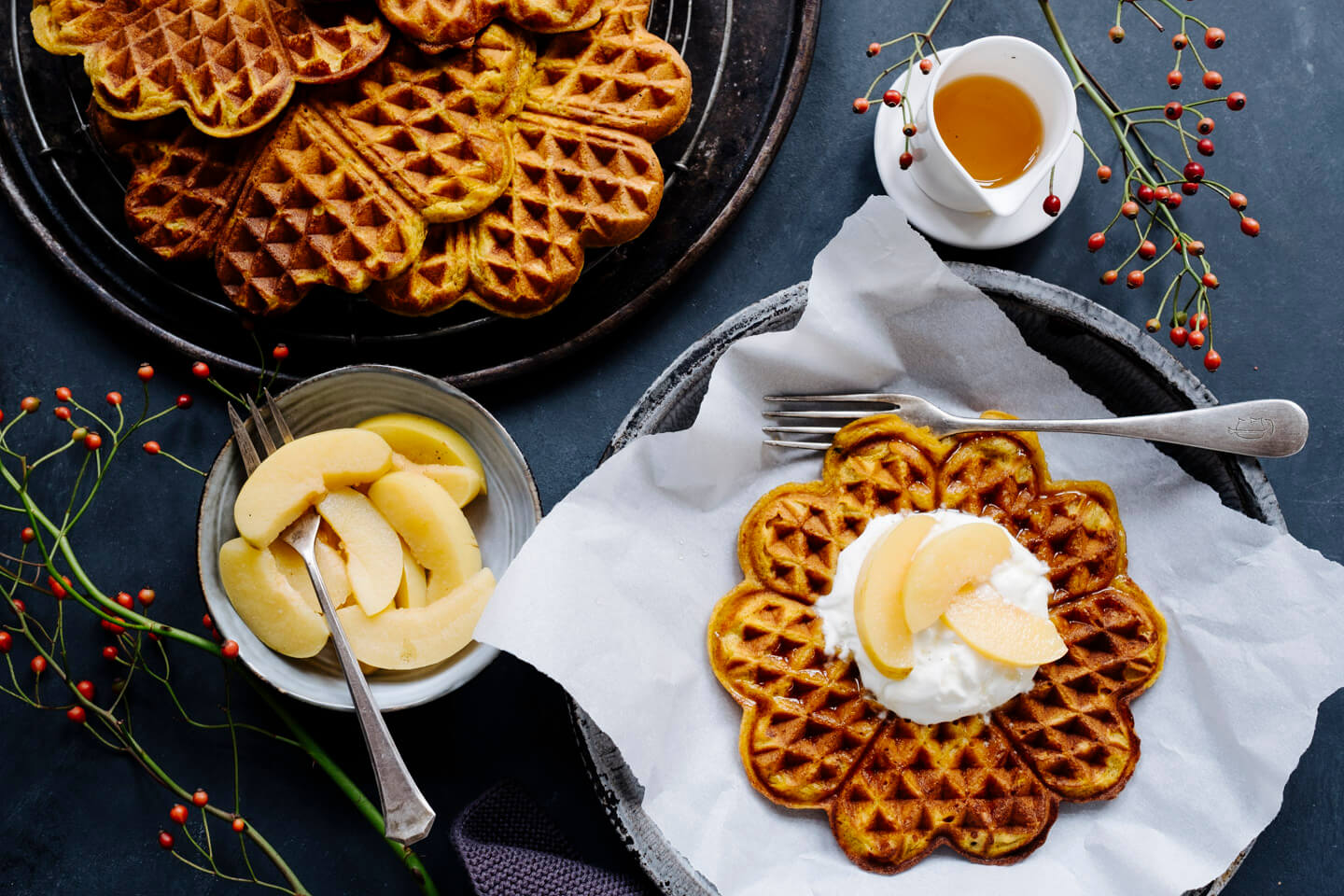 Pumpkin-Cinnamon-Waffles on a plate